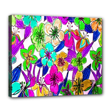 Floral Colorful Background Of Hand Drawn Flowers Deluxe Canvas 24  X 20