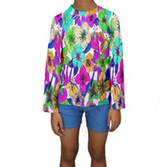 Floral Colorful Background Of Hand Drawn Flowers Kids  Long Sleeve Swimwear