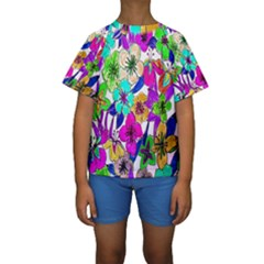 Floral Colorful Background Of Hand Drawn Flowers Kids  Short Sleeve Swimwear