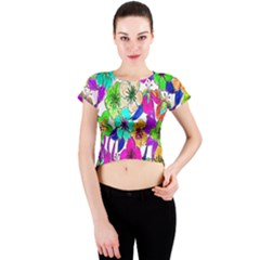 Floral Colorful Background Of Hand Drawn Flowers Crew Neck Crop Top
