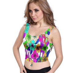 Floral Colorful Background Of Hand Drawn Flowers Crop Top