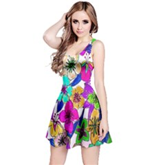 Floral Colorful Background Of Hand Drawn Flowers Reversible Sleeveless Dress