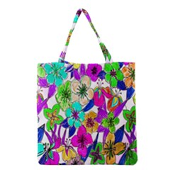 Floral Colorful Background Of Hand Drawn Flowers Grocery Tote Bag