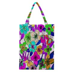 Floral Colorful Background Of Hand Drawn Flowers Classic Tote Bag