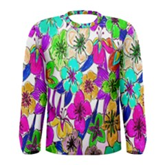 Floral Colorful Background Of Hand Drawn Flowers Men s Long Sleeve Tee