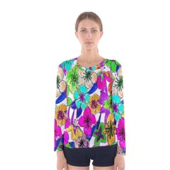 Floral Colorful Background Of Hand Drawn Flowers Women s Long Sleeve Tee