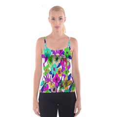 Floral Colorful Background Of Hand Drawn Flowers Spaghetti Strap Top