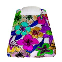 Floral Colorful Background Of Hand Drawn Flowers Fitted Sheet (single Size)