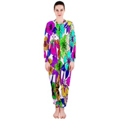 Floral Colorful Background Of Hand Drawn Flowers Onepiece Jumpsuit (ladies)