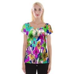 Floral Colorful Background Of Hand Drawn Flowers Women s Cap Sleeve Top