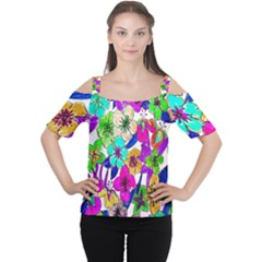 Floral Colorful Background Of Hand Drawn Flowers Women s Cutout Shoulder Tee