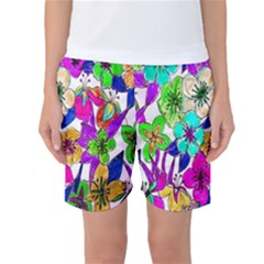 Floral Colorful Background Of Hand Drawn Flowers Women s Basketball Shorts
