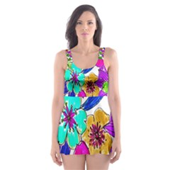 Floral Colorful Background Of Hand Drawn Flowers Skater Dress Swimsuit