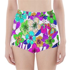Floral Colorful Background Of Hand Drawn Flowers High Waisted Bikini Bottoms
