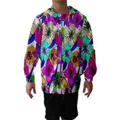 Floral Colorful Background Of Hand Drawn Flowers Hooded Wind Breaker (kids)