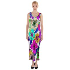 Floral Colorful Background Of Hand Drawn Flowers Fitted Maxi Dress