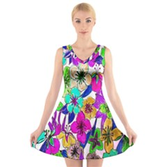 Floral Colorful Background Of Hand Drawn Flowers V Neck Sleeveless Skater Dress