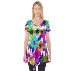 Floral Colorful Background Of Hand Drawn Flowers Short Sleeve Tunic