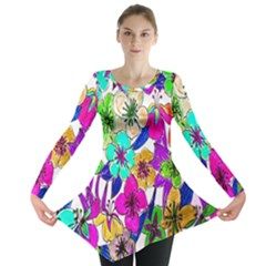 Floral Colorful Background Of Hand Drawn Flowers Long Sleeve Tunic