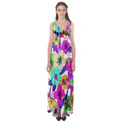 Floral Colorful Background Of Hand Drawn Flowers Empire Waist Maxi Dress