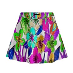 Floral Colorful Background Of Hand Drawn Flowers Mini Flare Skirt