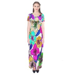 Floral Colorful Background Of Hand Drawn Flowers Short Sleeve Maxi Dress
