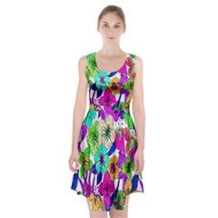 Floral Colorful Background Of Hand Drawn Flowers Racerback Midi Dress