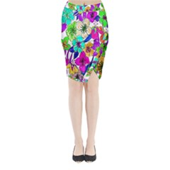Floral Colorful Background Of Hand Drawn Flowers Midi Wrap Pencil Skirt
