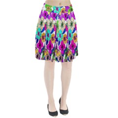 Floral Colorful Background Of Hand Drawn Flowers Pleated Skirt