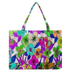 Floral Colorful Background Of Hand Drawn Flowers Medium Zipper Tote Bag