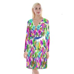 Floral Colorful Background Of Hand Drawn Flowers Long Sleeve Velvet Front Wrap Dress