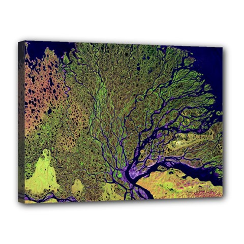 Lena River Delta A Photo Of A Colorful River Delta Taken From A Satellite Canvas 16  x 12