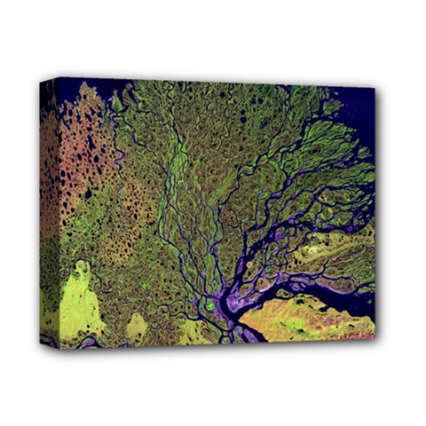 Lena River Delta A Photo Of A Colorful River Delta Taken From A Satellite Deluxe Canvas 14  X 11