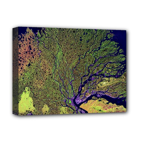 Lena River Delta A Photo Of A Colorful River Delta Taken From A Satellite Deluxe Canvas 16  x 12