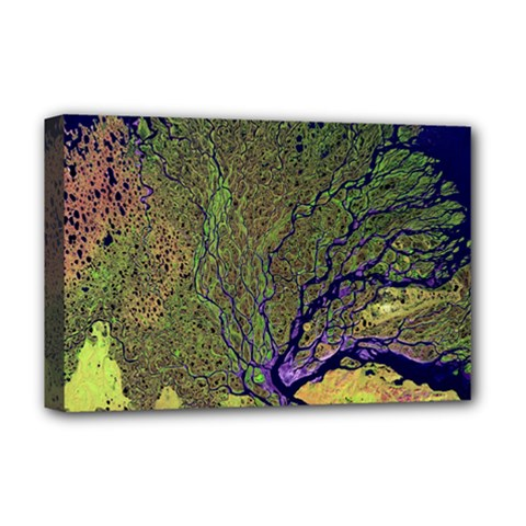 Lena River Delta A Photo Of A Colorful River Delta Taken From A Satellite Deluxe Canvas 18  X 12