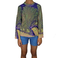Lena River Delta A Photo Of A Colorful River Delta Taken From A Satellite Kids  Long Sleeve Swimwear