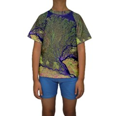 Lena River Delta A Photo Of A Colorful River Delta Taken From A Satellite Kids  Short Sleeve Swimwear
