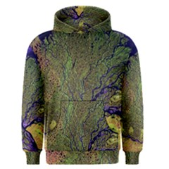 Lena River Delta A Photo Of A Colorful River Delta Taken From A Satellite Men s Pullover Hoodie