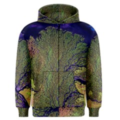 Lena River Delta A Photo Of A Colorful River Delta Taken From A Satellite Men s Zipper Hoodie