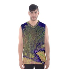 Lena River Delta A Photo Of A Colorful River Delta Taken From A Satellite Men s Basketball Tank Top