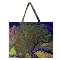 Lena River Delta A Photo Of A Colorful River Delta Taken From A Satellite Zipper Large Tote Bag