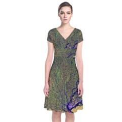 Lena River Delta A Photo Of A Colorful River Delta Taken From A Satellite Short Sleeve Front Wrap Dress
