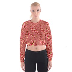Abstract Neutral Pattern Women s Cropped Sweatshirt
