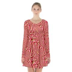 Abstract Neutral Pattern Long Sleeve Velvet V Neck Dress