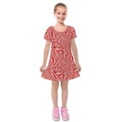 Abstract Neutral Pattern Kids  Short Sleeve Velvet Dress