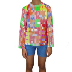 Abstract Polka Dot Pattern Digitally Created Abstract Background Pattern With An Urban Feel Kids  Long Sleeve Swimwear