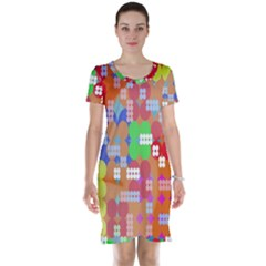 Abstract Polka Dot Pattern Digitally Created Abstract Background Pattern With An Urban Feel Short Sleeve Nightdress