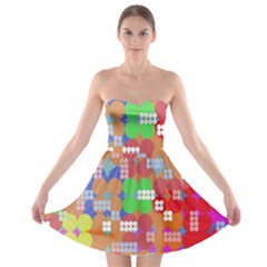 Abstract Polka Dot Pattern Digitally Created Abstract Background Pattern With An Urban Feel Strapless Bra Top Dress