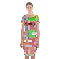 Abstract Polka Dot Pattern Digitally Created Abstract Background Pattern With An Urban Feel Classic Short Sleeve Midi Dress