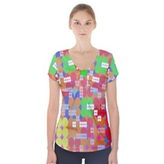 Abstract Polka Dot Pattern Digitally Created Abstract Background Pattern With An Urban Feel Short Sleeve Front Detail Top